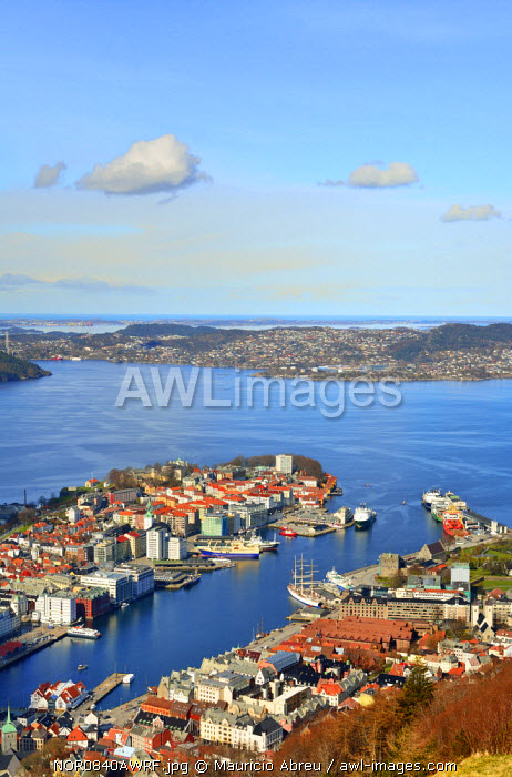 Elevated view over central Bergen. Hordaland, Norway