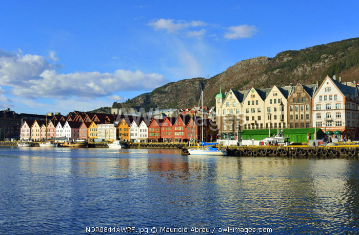 Fishing and trading wooden warehouses in the Bryggen District, a former counter of the Hanseatic League. A UNESCO World Heritage Site, Bergen. Norway