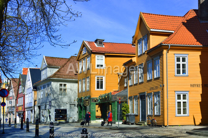 Wooden houses in Bergen's Old Town. Bergen, Norway