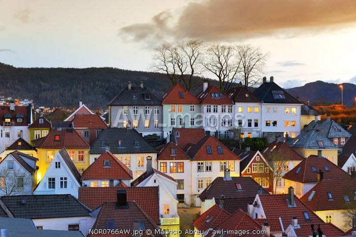 Bergen's Old Town at twilight. Bergen, Norway