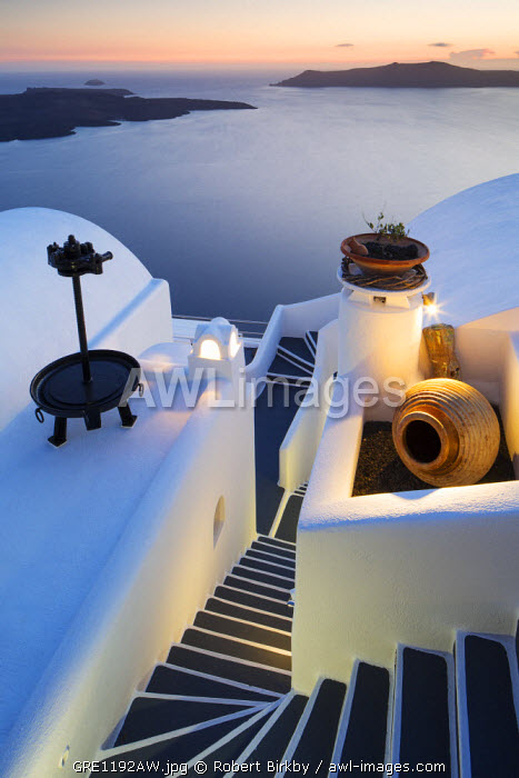 awl-images.com - Greece / Greece, Santorini, Firostefani. Steps and Cycladic architecture at sunset.
