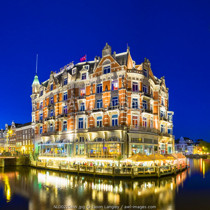 Netherlands, North Holland, Amsterdam. Hotel De l'Europe on the Amstel River.