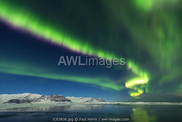 Aurora Borealis, Jokulsarlon Glacial Lagoon, South Iceland