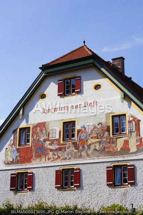 awl-images.com - Germany / Lueftl painting on the 'Hofwirth zur Post' pub in Marquartstein, Chiemgau, Upper Bavaria, Germany
