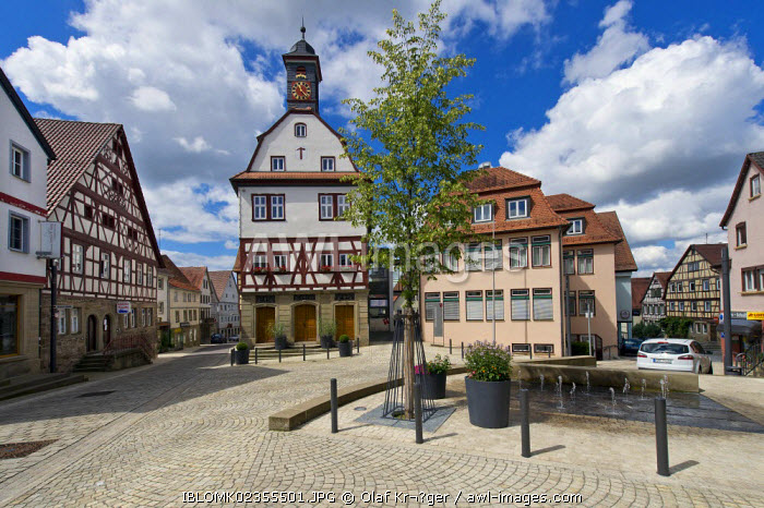 awl-images.com - Germany / Old town centre, old town hall, Neuenstein, Hohenlohe region, Baden-Wuerttemberg, Germany