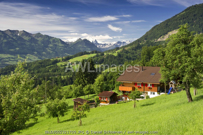 awl-images.com - Switzerland / Farms on Mount Pilatus, looking west towards the Bernese Oberland, canton of Oberwalden, Switzerland