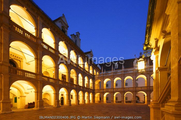 Landhaus building, illuminated, dusk, Graz, Styria, Austria