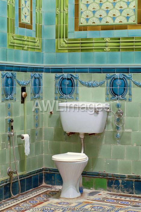 Bathroom tiled with Belgian tiles, Heritage Hotel Raj Niwas Palace, Dholpur, Rajasthan, North India, India