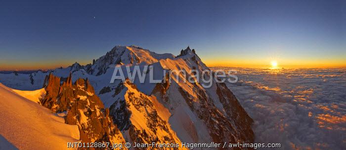 France, The Mont-Blanc (4810m) and aiguille du Midi (3842m) at sunset, Chamonix,