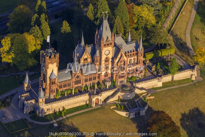 Aerial view, Schloss Drachenburg Castle, autumn, Konigswinter, Konigswinter, North Rhine-Westphalia, Germany