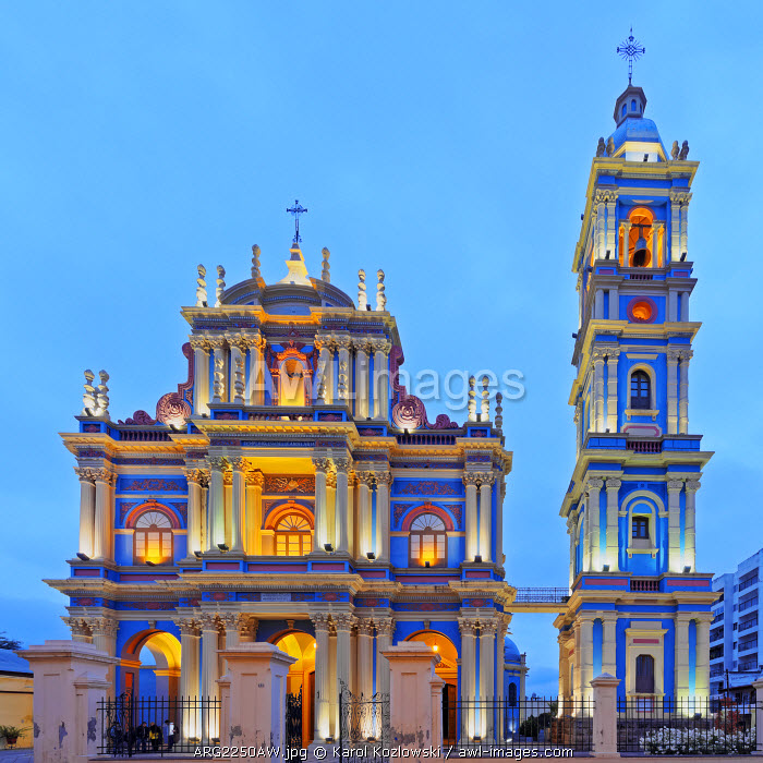 Argentina, Salta, Twilight view of the La Vina Church.