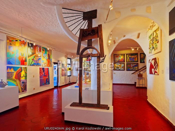 Uruguay, Maldonado Department, Punta Ballena, Interior view of the Casapueblo Museum and Art Gallery of an artist Carlos Paez Vilaro.