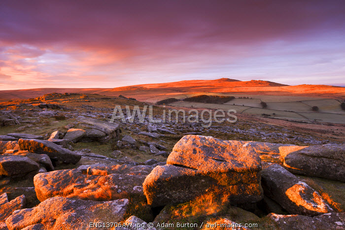 Sunrise over Belstone Tor, looking towards Yes Tor and High Willhays, the highest point in Devon and Southern Britain, Dartmoor National Park, Devon, England. Winter (December) 2009