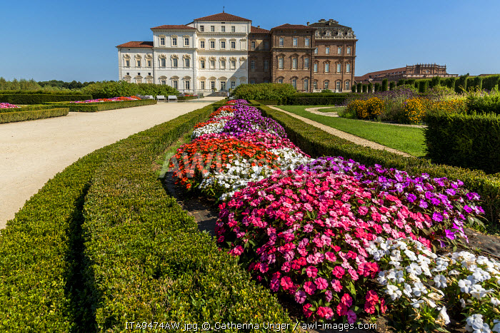 Europe, Italy, Piedmont. The gardens of the Venaria Reale.