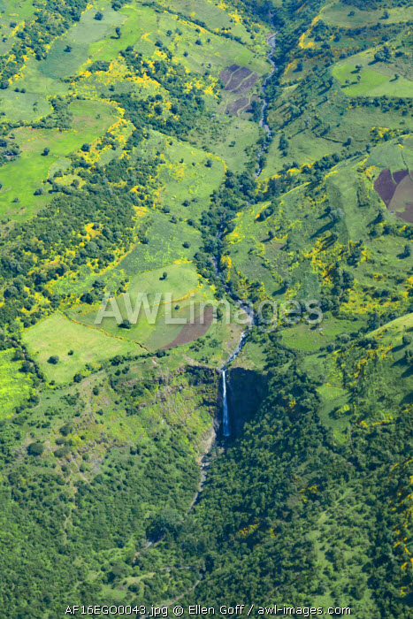 Africa, Ethiopian Highlands, Western Amhara. Aerial view of countryside between Lalibela and Gondar.