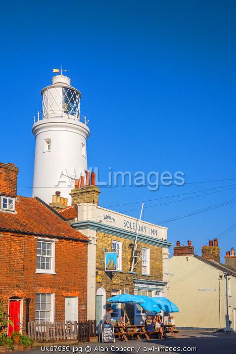 UK, England, Suffolk, Southwold, Sole Bay Inn Pub and Southwold Lighthouse