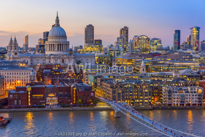 UK, England, London, St. Paul's Cathedral and City of London Skyline