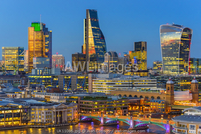 UK, England, London, City of London, Skyline, including the Cheesegrater and Walkie-Talkie