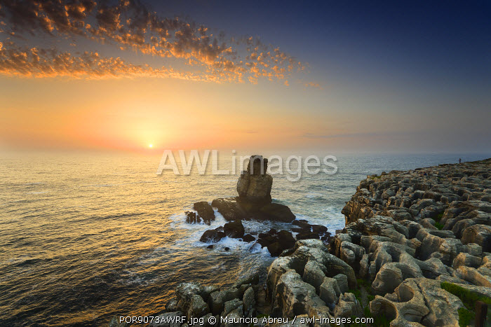 Cabo Carvoeiro and Nau dos Corvos at sunset, in front of the Atlantic Ocean. Peniche, Portugal