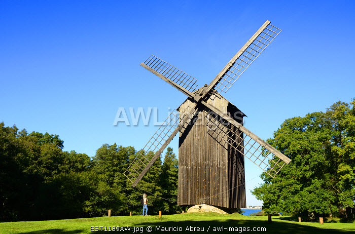 Traditional windmill at the Estonian Open Air Museum. This museum is a life-sized reconstruction of an 18th-century rural/fishing village. Rocca al Mare, Tallinn. Estonia