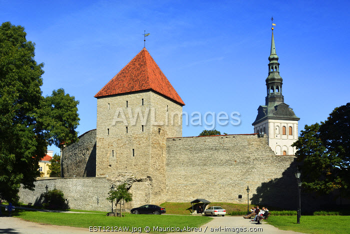 The powerful Maiden's Tower and the old city walls 4 meter thick, in Komandandi garden. Tallinn, Estonia