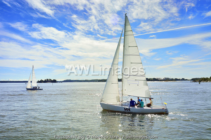 Sailing boats in the bay of Helsinki. Finland