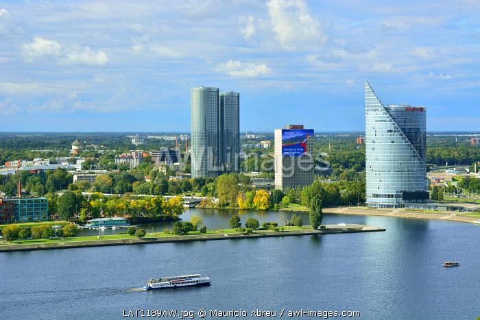Modern buildings near the Daugava river. Riga, Latvia