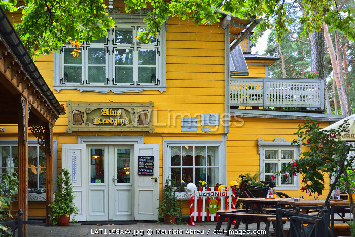 Wooden houses of the Baltic Sea village of Jurmala. Riga, Latvia