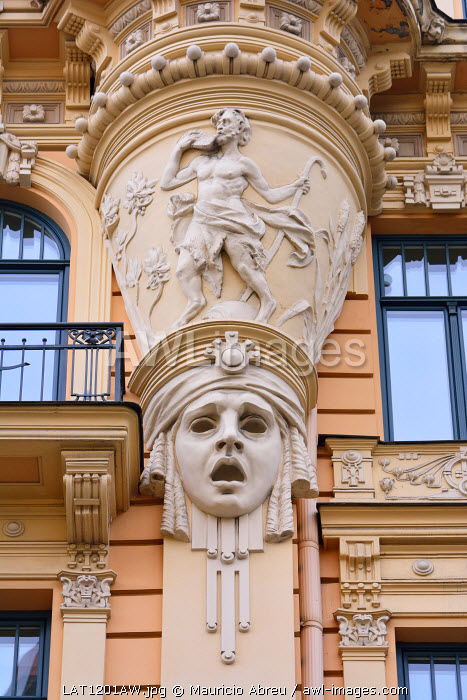 Art Nouveau architecture (Jugendstil architecture) by Mikhail Eisenstein. A Unesco World Heritage Site. Riga, Latvia