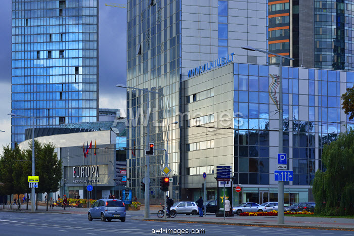 High-rise office buildings in the modern city. Vilnius, Lithuania