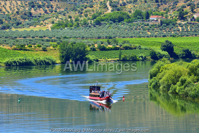 The Douro river and a tour boat at Pocinho, a Unesco World Heritage Site. Portugal
