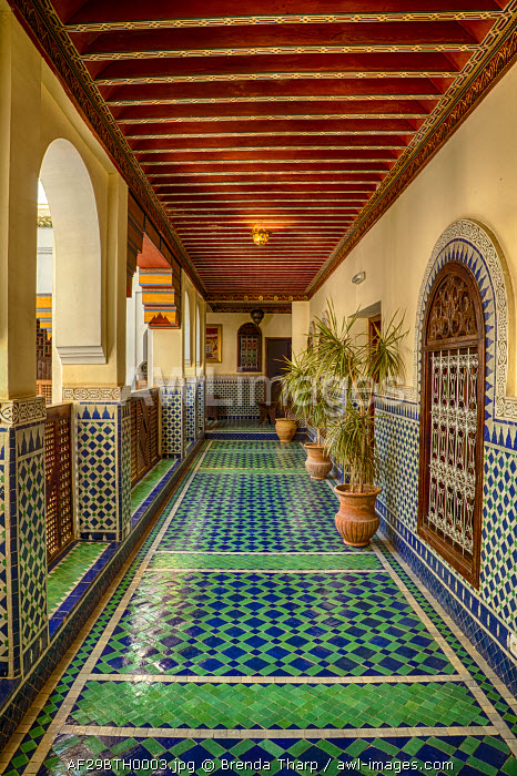 Africa, Morocco, Fes. Hallway in Riad Yacout, a boutique hotel.