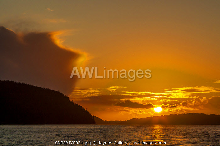 Canada, British Columbia. Inside Passage sunset.