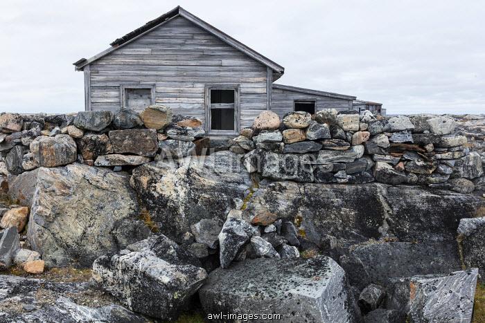 Canada, Nunavut Territory, Abandoned ruins of trading post along Hudson Bay at Fullerton Harbor