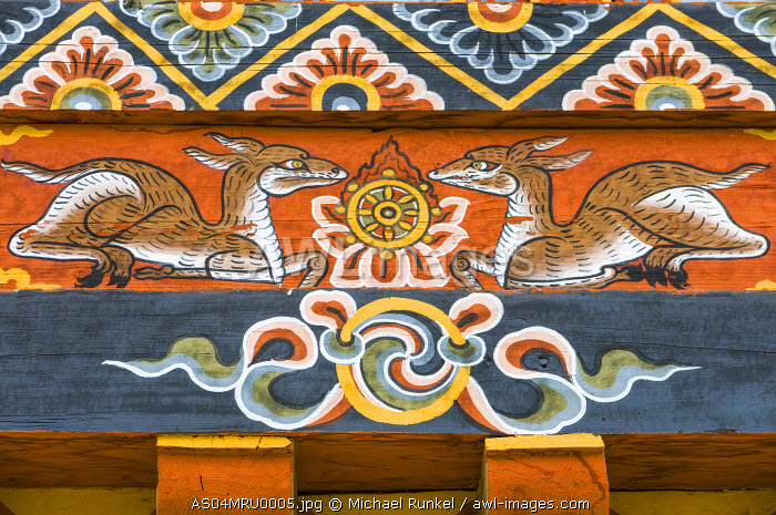 Buddhist Paintings at a facade, Chimi Lhakhang, Bhutan