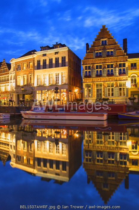 Leie Canal at dusk, Ghent, Flanders, Belgium
