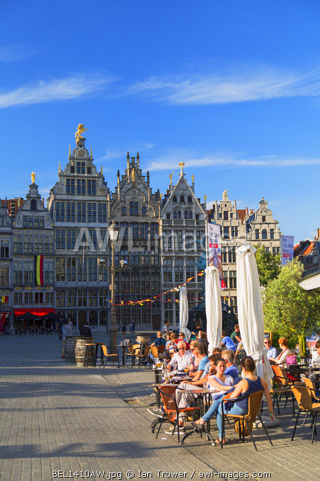 Outdoor cafes in Main Market, Antwerp, Flanders, Belgium