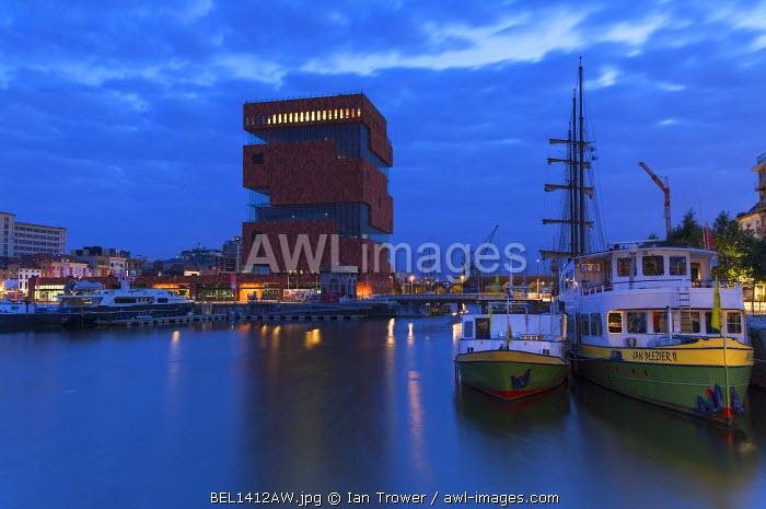 Museum aan de Stroom (MAS) in Willem Dock Marina at dusk, Antwerp, Flanders, Belgium