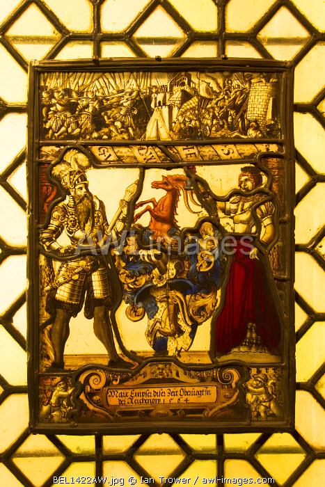 Stained glass in Museum Mayer Van den Bergh, Antwerp, Flanders, Belgium