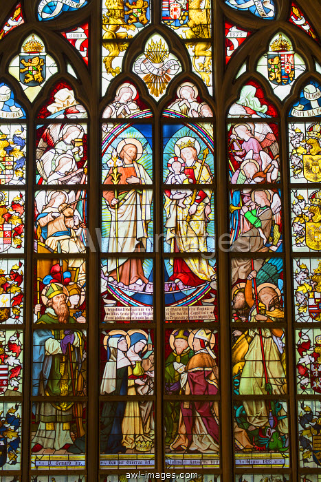 Stained glass window of Cathedral of Our Lady, Antwerp, Flanders, Belgium