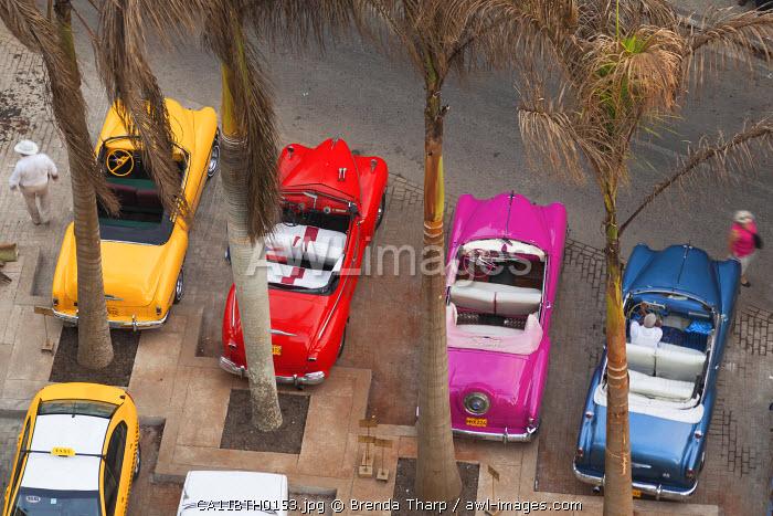 Cuba, Havana. Overhead view of colorful classic cars.