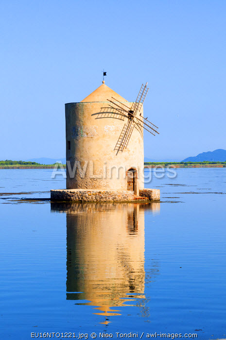 The Spanish Windmill on the lagoon of Orbetello, Orbetello, Grosseto Province, Maremma, Tuscany, Italy