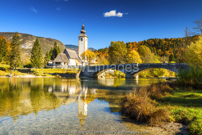 Church of St. John the Baptist reflecting in Lake Bohinj, Slovenia, Europe