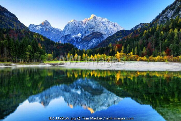 Prisojnik and Mali Razor Reflecting in Jasna Lake, near Kranjska Gora, Slovenia, Europe