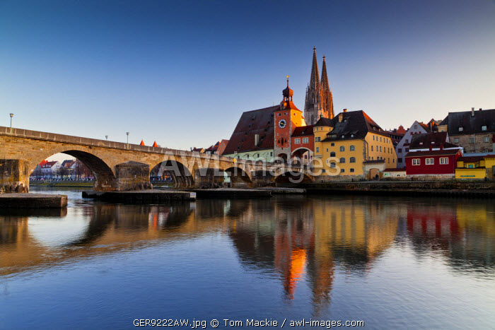 Stone Bridge & St. Peter's Cathedral, Regensburg, Bavaria, Germany