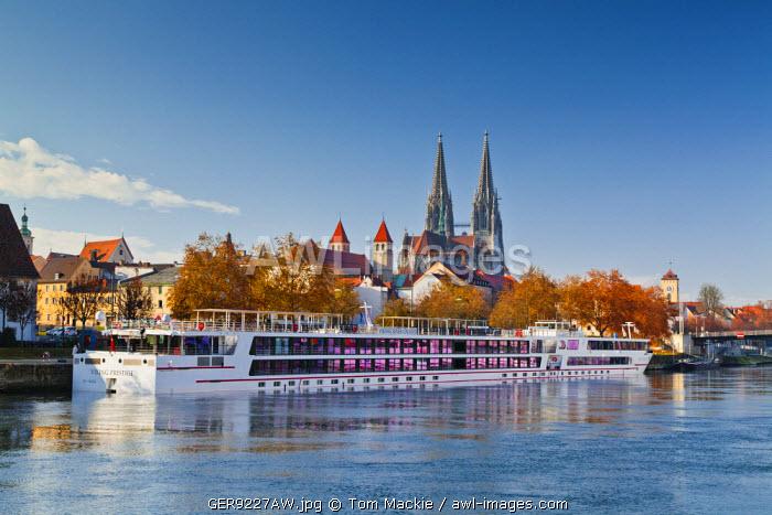 Riverboat along River Danube, Regensburg, Bavaria, Germany