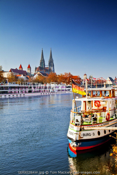 Boats along River Danube, Regensburg, Bavaria, Germany