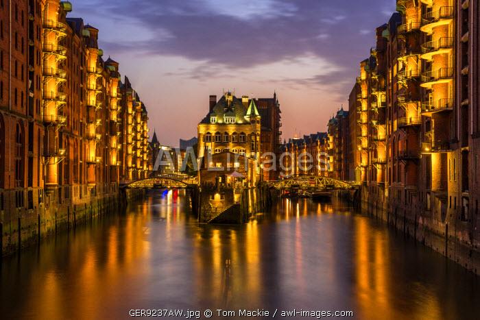 Wasserschloss at Night, Speicherstadt, Hamburg, Germany
