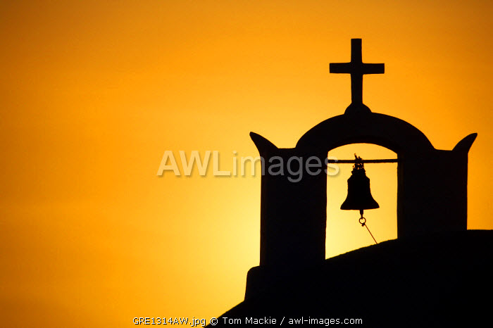 Church Bell Tower at Sunset, Oia, Santorini, Greece