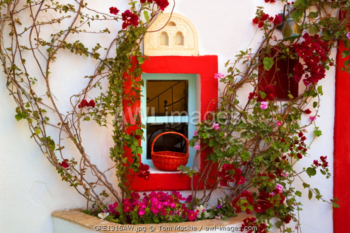 Colourful Window Detail, Oia, Santorini, Greece